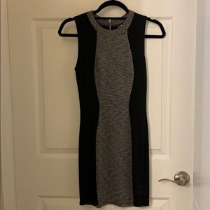 Black and gray mini dress